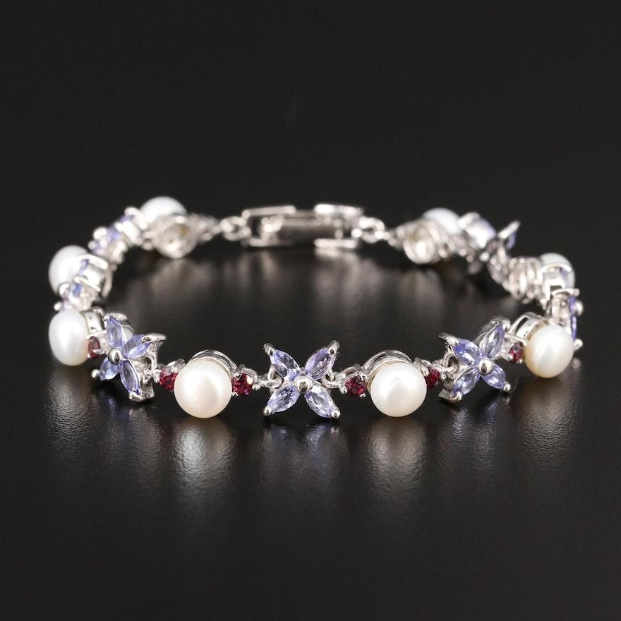 Sterling Silver Pearl, Tanzanite and Garnet Flower Motif Bracelet