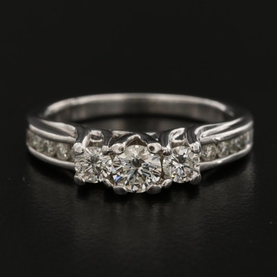 14K Diamond Cathedral Ring