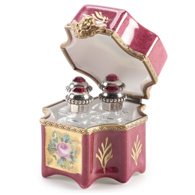 La Gloriette Limoges France Porcelain Trinket Box with Mini Perfume Bottles