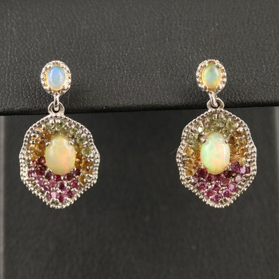 Sterling Silver Opal, Amethyst and Sapphire Dangle Earrings