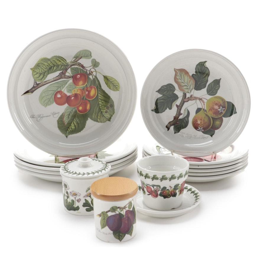 "Portmeirion ""Pomona"" Ceramic Plates and Accessories with ""Botanic Garden"" Jar"