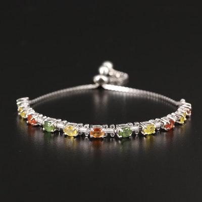 Sterling Silver Multi-Colored Sapphire Bolo Bracelet