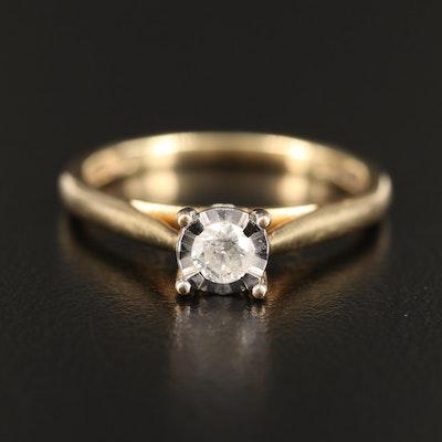 10K Diamond Illusion Set Cathedral Ring