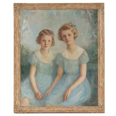 Charles Lévy Sasportas Oil Portrait of the Stoneman Daughters, 1935