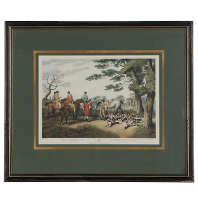 """Offset Lithograph After Hunting Genre Engraving """"Hare Hunting, 2nd"""""""