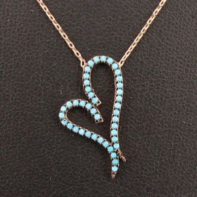 Sterling Silver Imitation Turquoise Heart Necklace