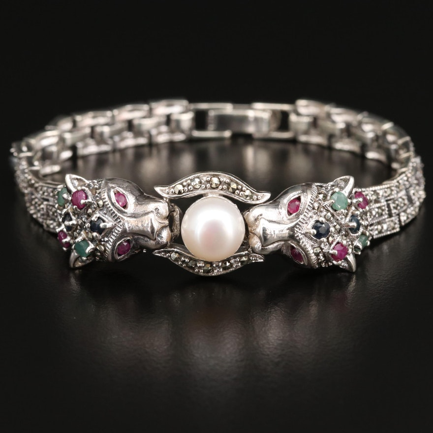 Sterling Silver Pearl, Emerald and Marcasite Double Head Feline Bracelet