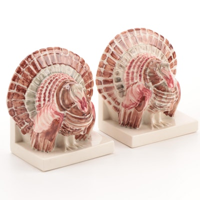 Rookwood Pottery High Gloss Glaze Turkey Bookends, 1942