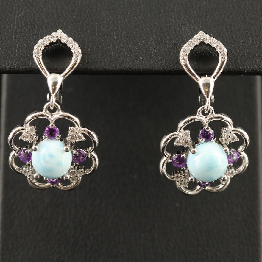 Sterling Larimar, Amethyst and Cubic Zirconia Floral Dangle Earrings
