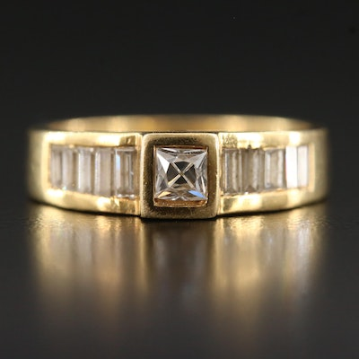 18K Diamond Ring with Channel Shoulders