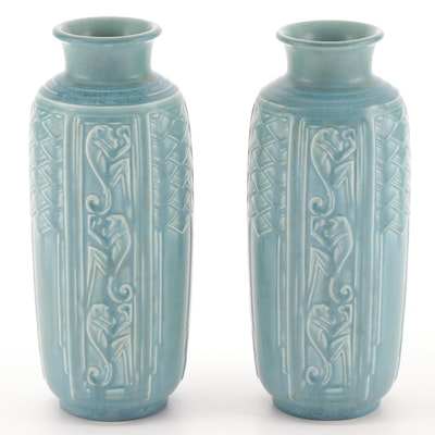 Pair of Art Deco Rookwood Pottery Matte Blue Glaze Monkey Motif Vases, 1939