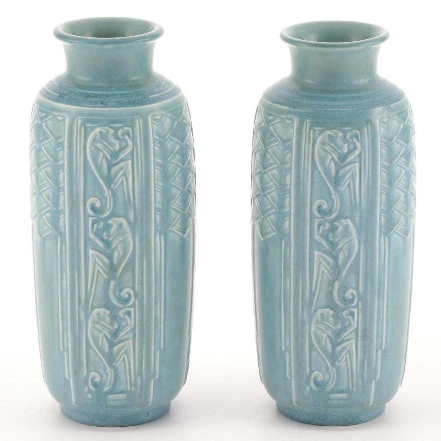 Pair of Art Deco Rookwood Pottery Matte Blue Glaze Monkey Motif Vases, 1939