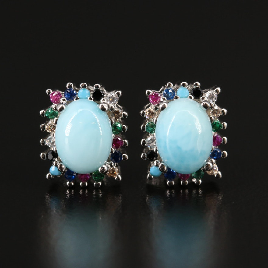 Sterling Faux Turquoise and Cubic Zirconia Earrings