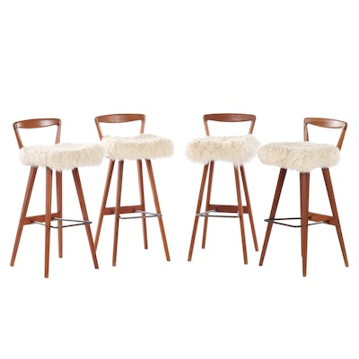 Contemporary Modern Faux Fur Upholstered Barstools