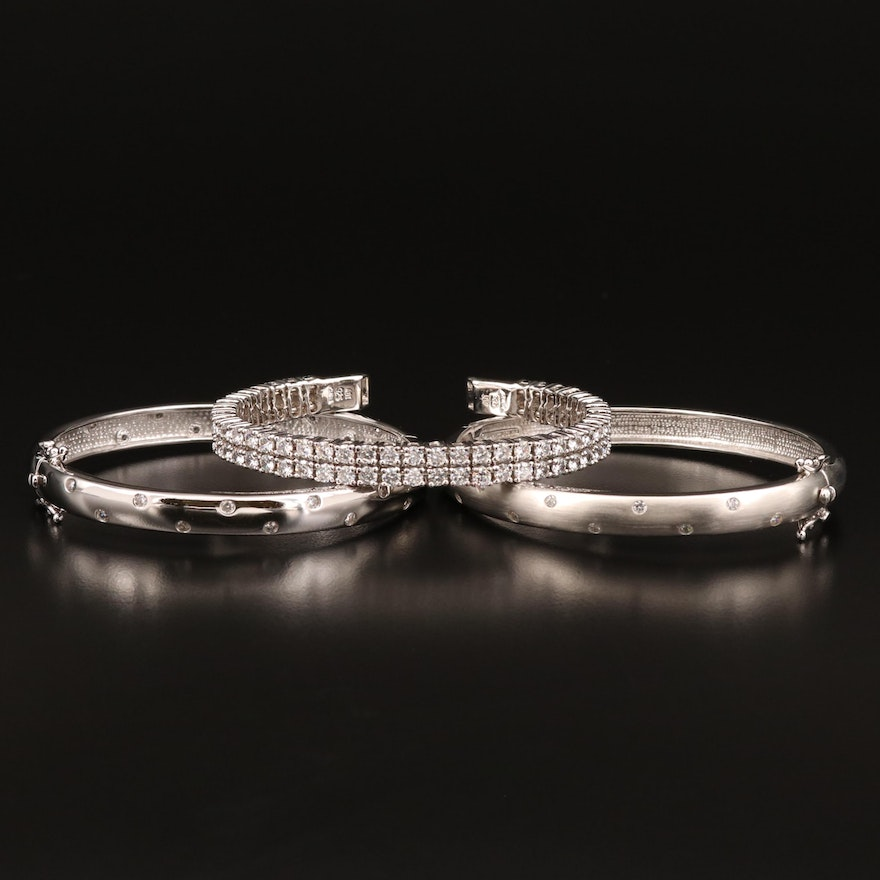 Sterling Silver Cubic Zirconia Bracelet Featuring Cuff and Hinged Bangle Styles