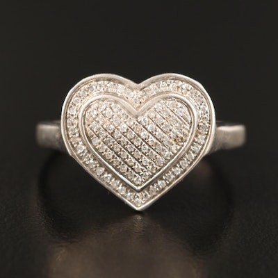 Sterling Pavé Diamond Heart Ring