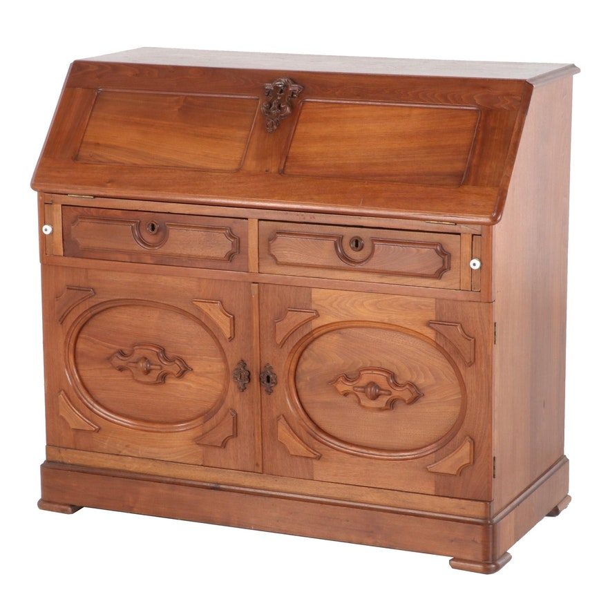Late Victorian Walnut Drop Front Secretary Desk, Mid-19th Century
