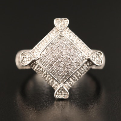 Sterling Silver Pavé Diamond Ring with Heart Motif
