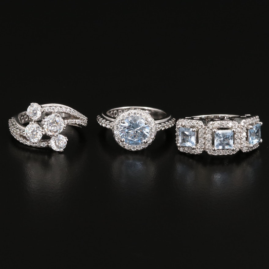 Joseph Esposito and Tacori Sterling Spinel and Cubic Zirconia Rings