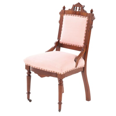 Victorian Eastlake Walnut Upholstered Parlor Chair, Late 19th Century