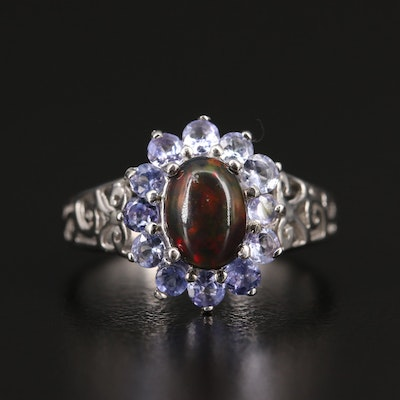 Sterling Opal and Tanzanite Ring with Openwork Shoulders