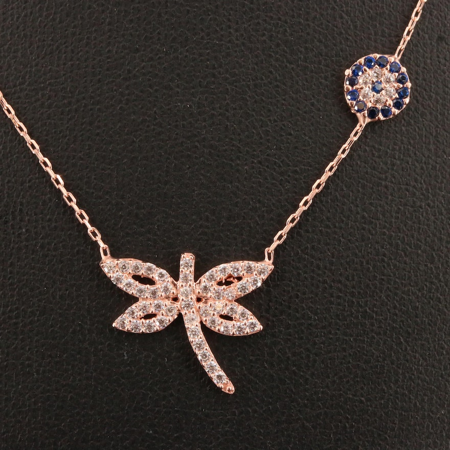 Sterling Silver, Cubic Zirconia and Spinel Dragonfly Necklace