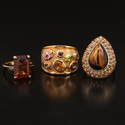 Assortment of Rings Featuring Sterling Silver, Tiger's Eye, Glass and Citrine