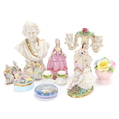 Sitzendorf Dresden Candleholder and Other Porcelain Figurines and Decor