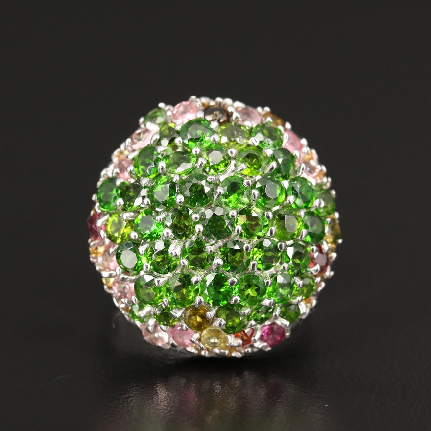 Sterling Silver Diopside, Garnet and Sapphire Bombé Ring