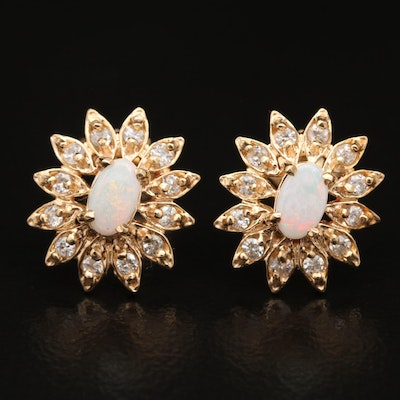 14K Opal and Diamond Floral Halo Stud Earrings