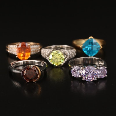Sterling Silver Rings with Cubic Zirconia and Topaz