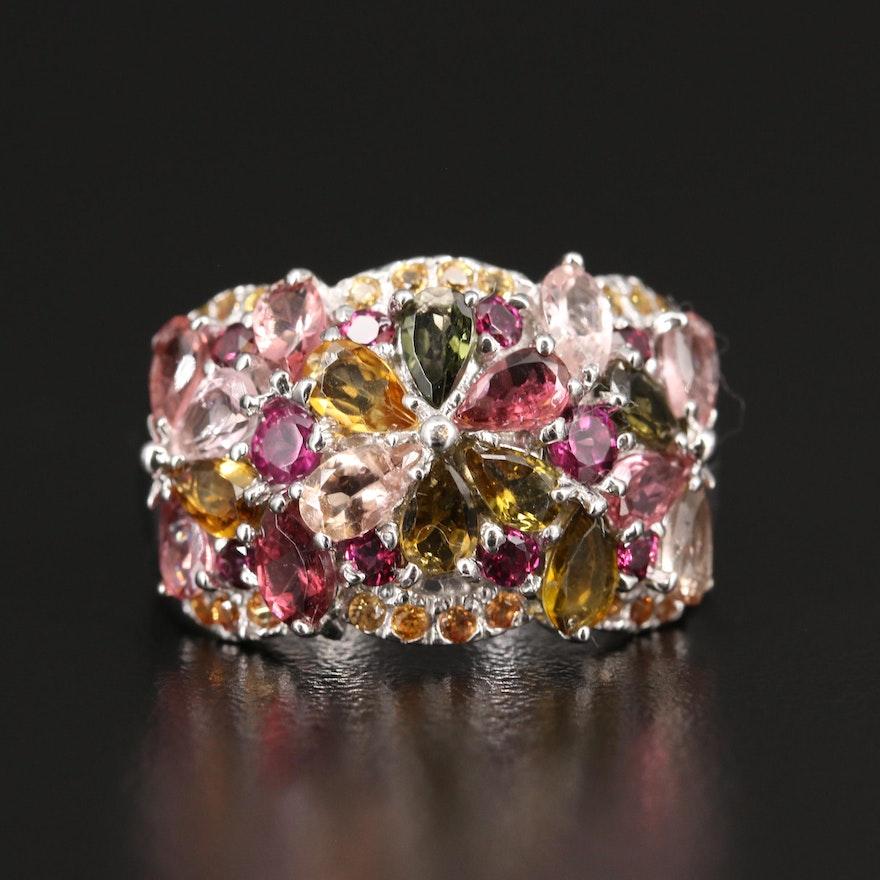Sterling Silver Tourmaline, Garnet and Sapphire Flower Motif Ring