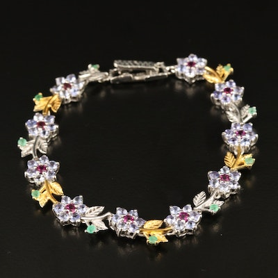Sterling Tanzanite, Emerald and Garnet Floral Bracelet