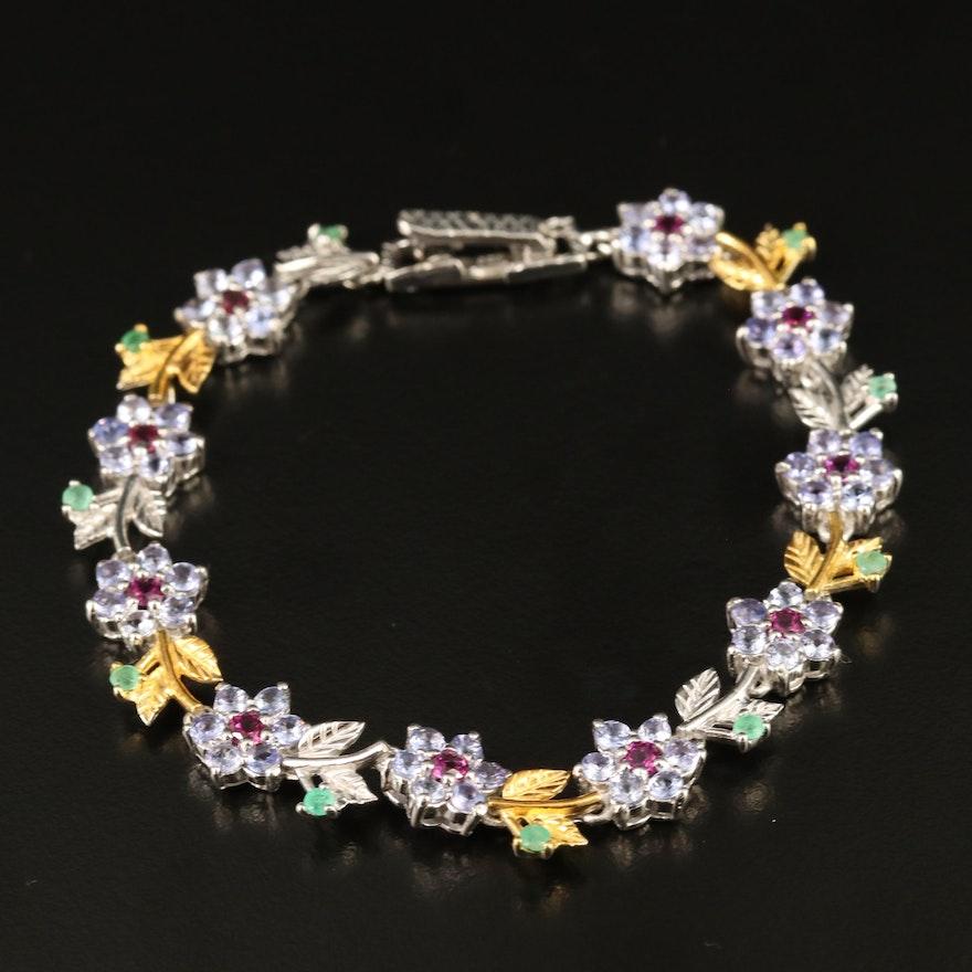 Sterling Tanzanite, Emerald and Garnet Floral Bracelet