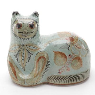 Mexican Tonala Pottery Cat Figurine