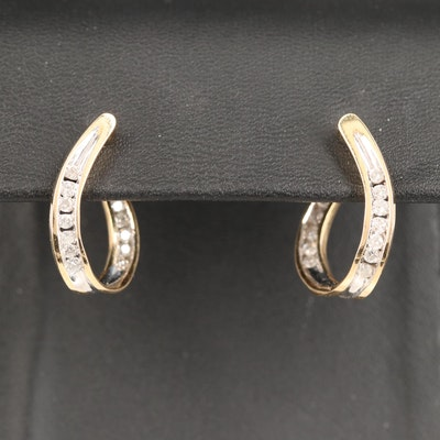 14K Inside-Out Diamond Twisted Hoop Earrings