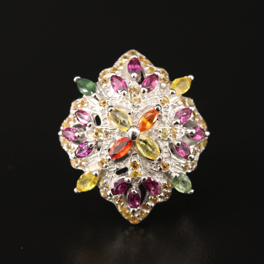 Sterling Silver Garnet and Sapphire Cluster Ring