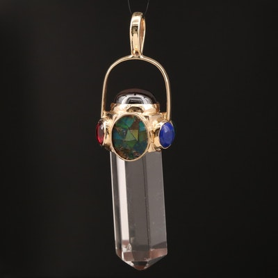 14K Rock Quartz Crystal and Multi-Gemstone Obelisk Pendant