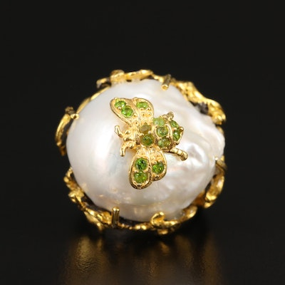 Sterling Pearl and Peridot Bee Ring