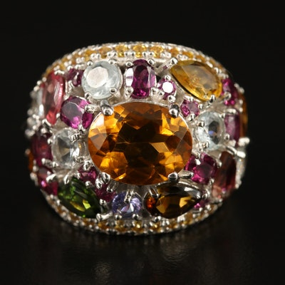Sterling Citrine, Aquamarine, Tanzanite and Garnet Bombé Ring