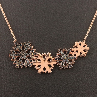 Sterling Silver Cubic Zirconia Snowflake Motif Necklace
