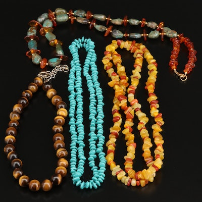 Collection of Tiger's Eye, Amber and Quartzite Beaded Necklaces