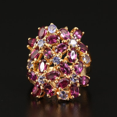 Sterling Silver Garnet and Tanzanite Openwork Ring with Floral Design