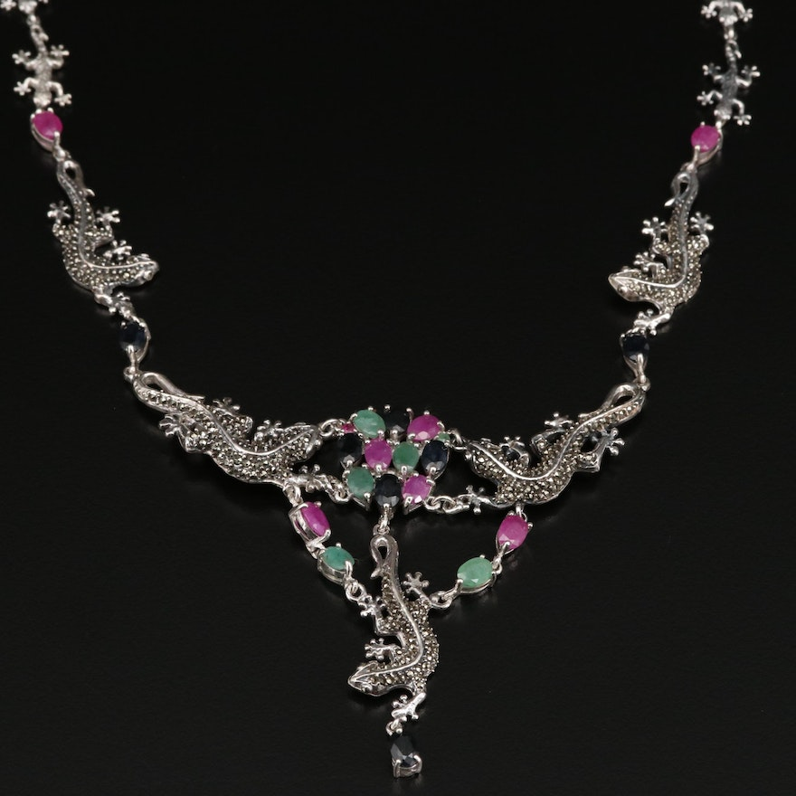 Sterling Silver Gecko Link Necklace with Beryl, Sapphire and Ruby Accents