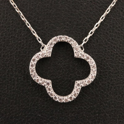 Sterling Silver Cubic Zirconia Quatrefoil Necklace