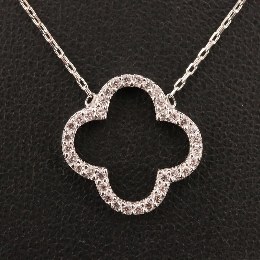 Sterling Silver Cubic Zirconia Quatrefoil Necklace