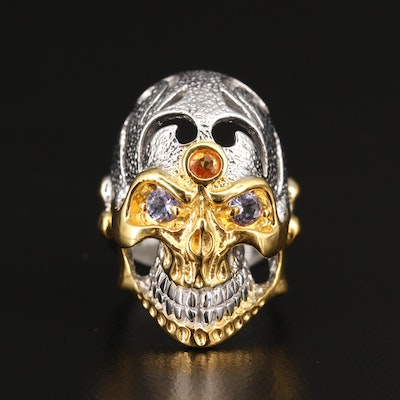 Sterling Sapphire and Tanzanite Skull Ring