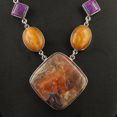 Sterling Silver Jasper, Turquoise and Agate Necklace