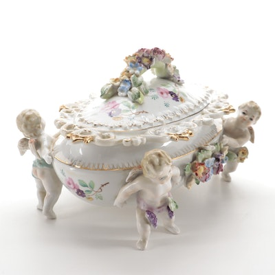 Capodimonte Style Hand-Painted Ceramic Floral Cherub Jewelry Casket