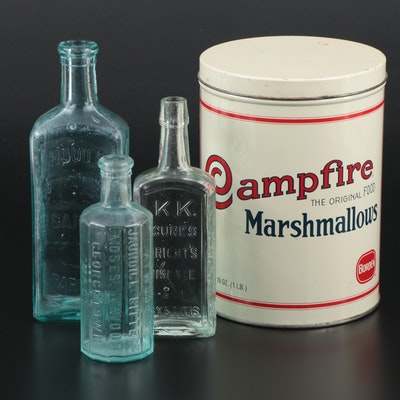 Antique Hood's and K.K. Medicinal Bottles with Replica Campfire Marshmallows Tin